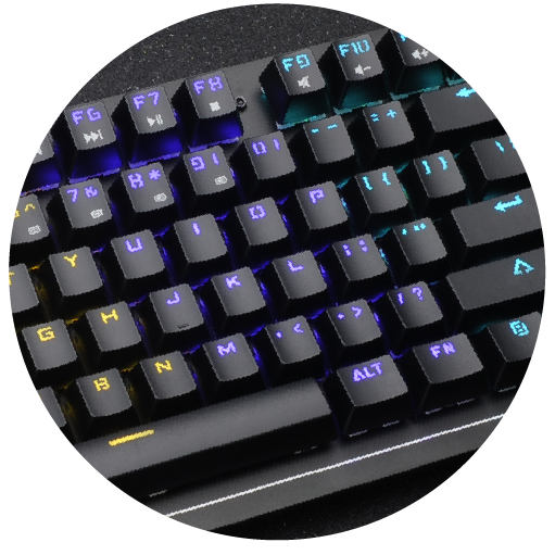 Besides the Pre-built effects, assign light to the keys you use for better visual-aid.